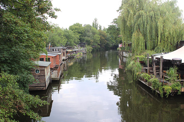 A canal in Friedrichshain where many of East Berlin's open air night time events are held.