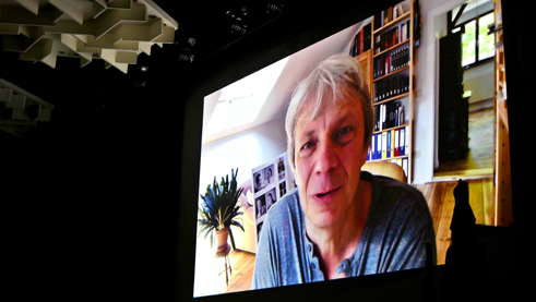 Andreas Dresen, director of the film Timm Thaler, sends a video message. Photo: Marija Piroshki