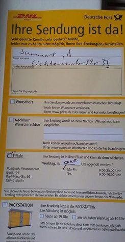 To get your parcel you need a pick up notice from the post.