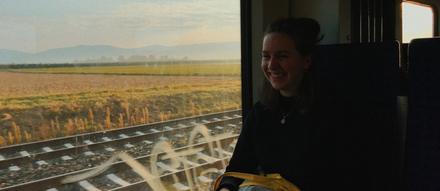 Ana in train carriage