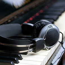 Headphones on a piano