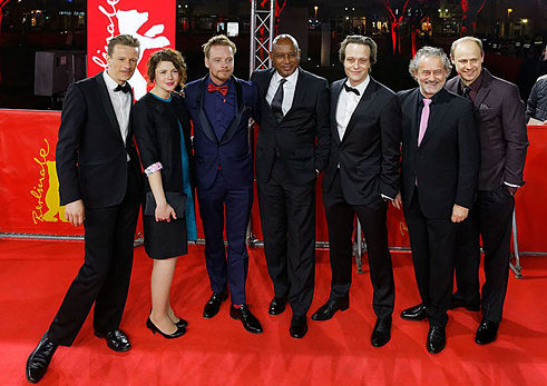 Alexander Scheer, Hannah Steele, Stefan Konarske, Raoul Peck, August Diehl, Rolf Kanies and Moritz Führmann at the world premiere of 'The Young Karl Marx' at the 2017 Berlinale.