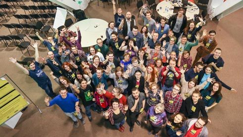 Participants in the game jam in Novosibirsk.