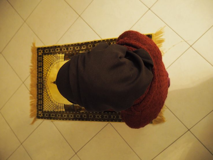 Work: As a computer science and neuropsychology graduate, I work a lot with people, but also with machines. Since I spend a lot of time in the office, some prayer times fall into my working hours. But it was never a problem for me to simply spread my prayer rug and pray and to integrate worshipping God in my life despite having a stressful workday. The photo shows the prayer rug I normally use.