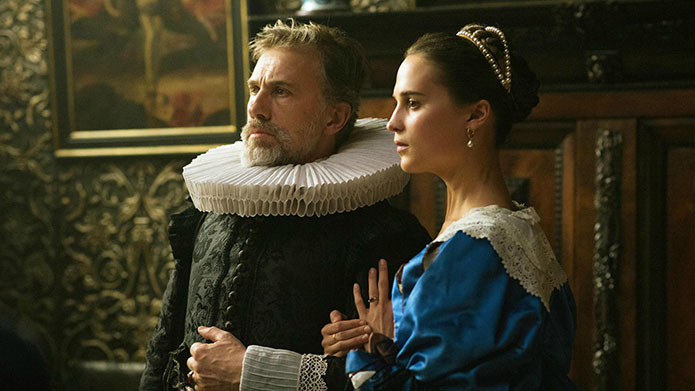 Christoph Waltz and Alicia Vikander in Tulip Fever.