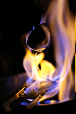 Feuerzangenbowle: mulled wine with rum and sugar.