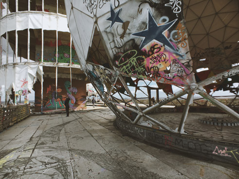 On top of Teufelsberg is the ruins of the NSA's listening station from the Cold War.