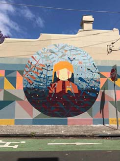 This mural was painted by Kyle Hughes – it is part of the Perfect Match program run by Inner West Council. Perfect Match is one of the council's initiatives to prevent unwanted graffiti through fostering legitimate creative expression and art in public spaces.