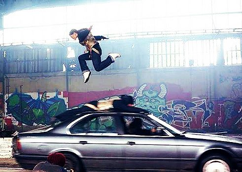 Jumping over a car