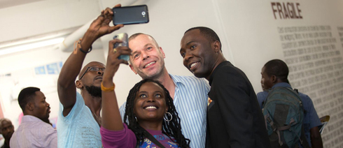 Wolfgang Tillmans at the exhibition opening on 12 January 2018 at the Musée d'Art Contemporain et Multimédias in Kinshasa.