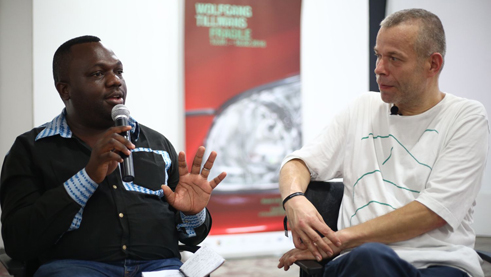Wolfgang Tillmans talking with Patrick Mudekereza, director of the WAZA, Centre d'art de Lubumbashi.