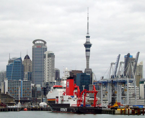 German research vessel, the RV Sonne, in Auckland harbour after a research voyage to the Kermadec trench region north of New Zealand in January 2017.