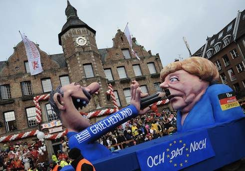 Topical floats in Dusseldorf's Rose Monday parade