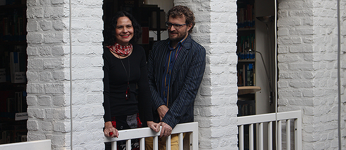 Nina and Marcelo on the gallery – working, living, sleeping in the library for a few weeks