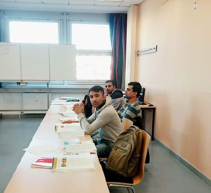 Abdul Hasib and his friends in their German class.