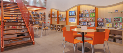 A panoramic view of the library.