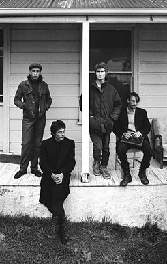Xpressway artists. L to R: Bruce Russell, Peter Jefferies, Peter Gutteridge, and Alastair Galbraith in Dunedin, early 1989. Credit: