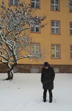 Snow outside my work building, Saarland University