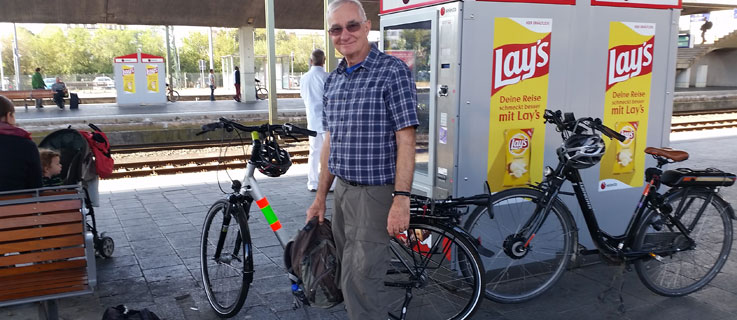 Dave with bike at German rail station