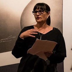 Pip reading at the City Gallery Wellington