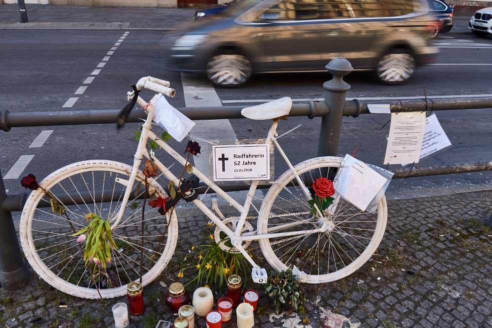 "Solemn memorial: The white-painted ""ghost bicycle"" is a tribute to cyclists who have lost their lives in traffic accidents."