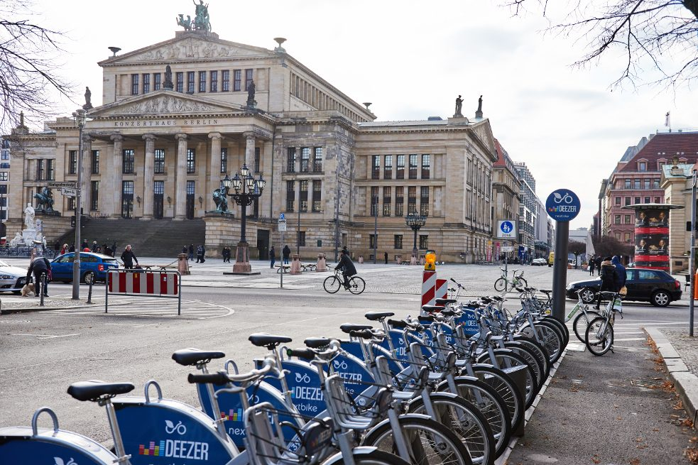 Rental bikes in front of the Berlin Concert Hall