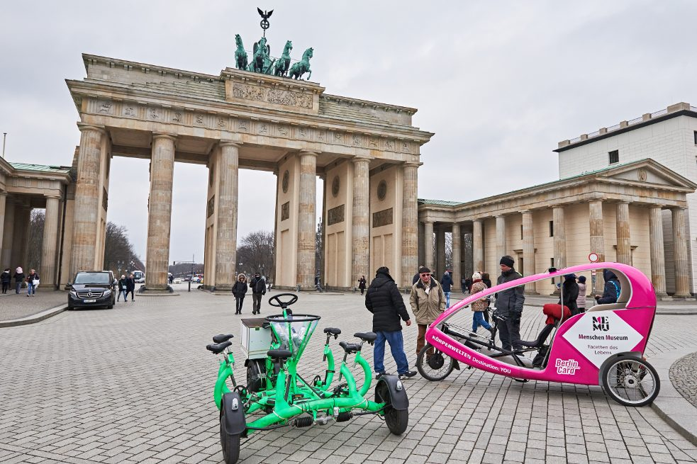 Velotaxi in front of the Brandenburger Tor in Berlin