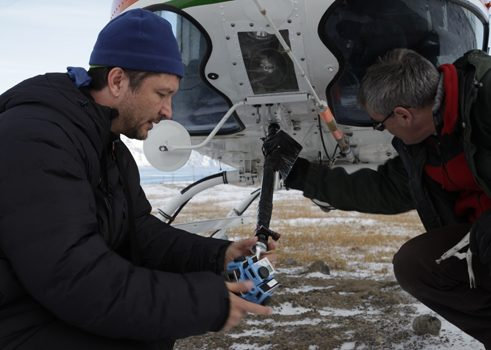 Polar Sea Director Thomas Wallner and 360 drone flyer Ian Hannah mount a 360 camera on a chopper to capture images of the Canadian Northwest Passage.