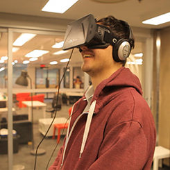 Ryerson University test subject watches the Polar Sea trailer for the first time in VR
