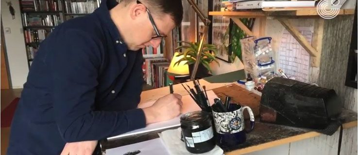 Jeff Lemire in his studio