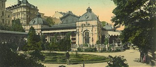 Postcard from the city park in Karlovy Vary around 1900, Czech Republic