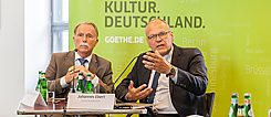 Klaus-Dieter Lehmann and Johannes Ebert answer questions from the press