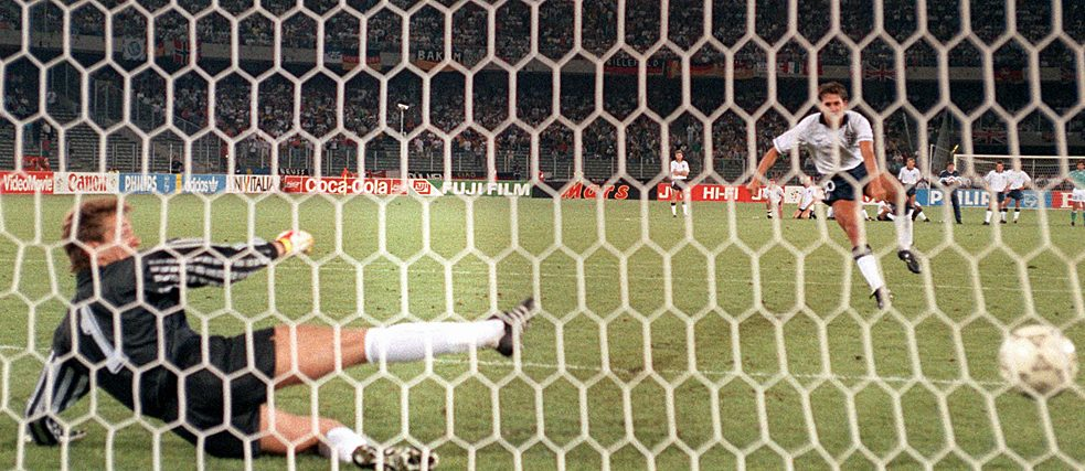 1990 World Cup: in the penalty shoot-out, English centre-forward Gary Lineker (right) beats Bodo Illgner to make it 1:0, though England ultimately loses 4:3.