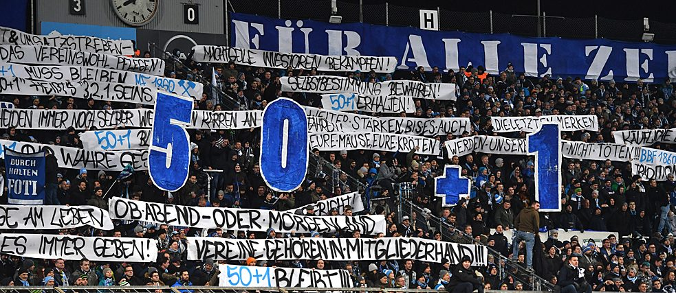 "Munich fans demonstrate for the ""50+1"" rule to be preserved."