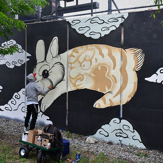 Mural Under Construction by Golden Rabbit Silent Monkey.
