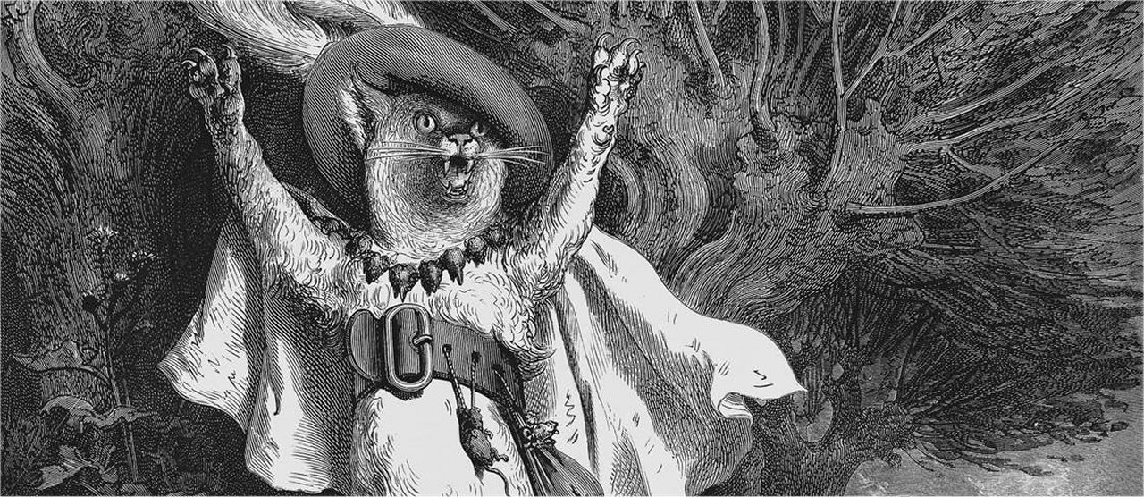 """Le chat botté"" (Puss in Boots), a copper engraving by the French graphic artist Gustave Doré (1832-1883)"