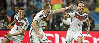 Thomas Müller, Andre Schürrle and Mario Götze: goal celebration after the winning goal in the final of the 2014 World Cup.