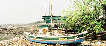 Boat Joshlyn of the Fishing community Koli at the sore of Chimbais rocky beach
