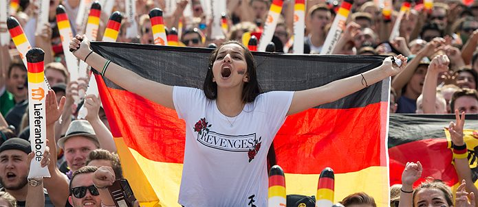 Black, red and gold as far as the eye can see: football fans at Berlin's Fan Fest for the 2018 World Cup.