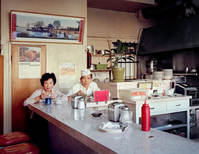 "Janet Delaney - ""Helen and her husband, Chester, at the Helen Cafe, 486 6th Street"", 1980"