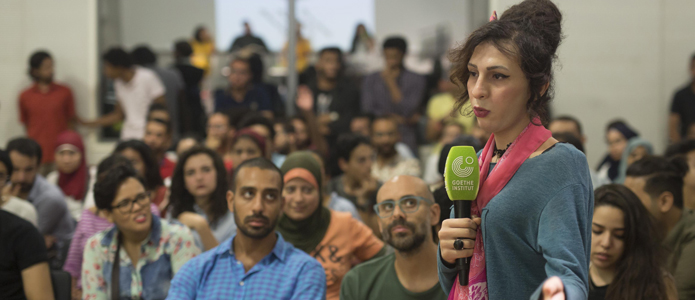 Audience members at the launch of Jeem in Cairo