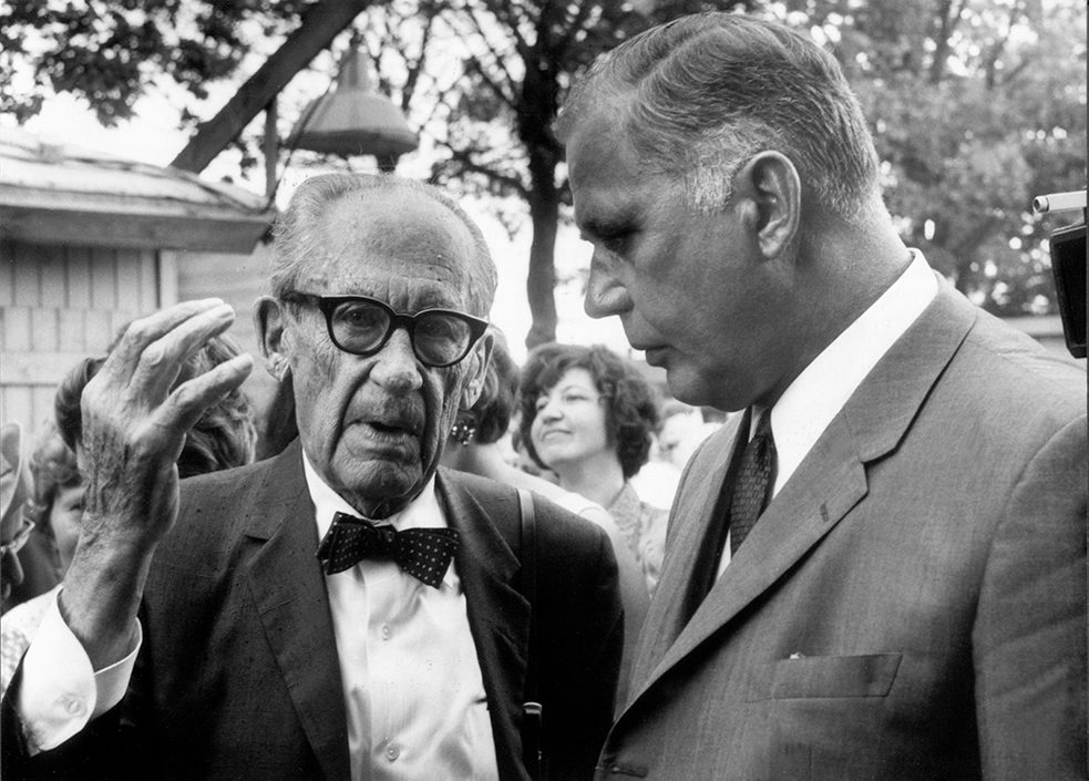 Walter Gropius with Senator of Building and Construction Rolf Schwedler at the roofing ceremony in 1968