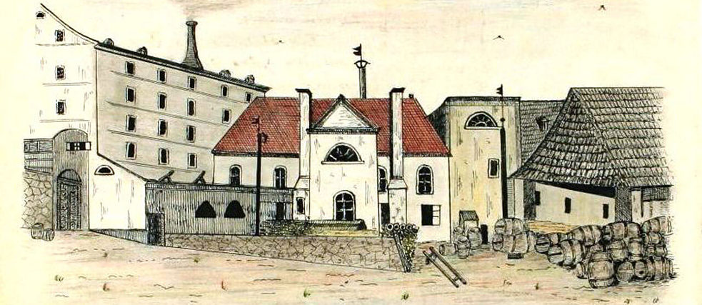 Sugar factory in Dačice around 1840