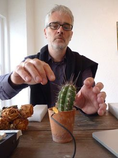 Stefan Scheib plucks the electronically amplified cactus