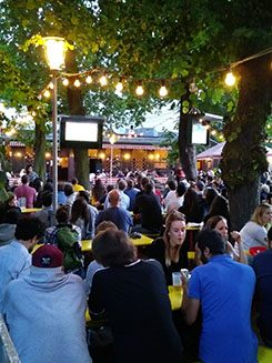 World Cup public viewing at the Prater Biergarten.