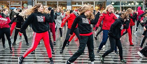 "The global flash mob movement ""One Billion Rising"" protests violence against women, as here in February 2018 in Tilburg, the Netherlands."