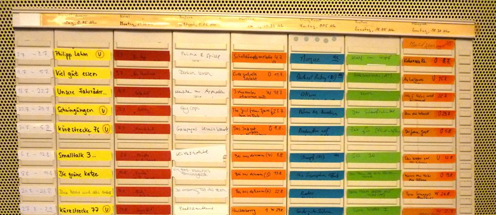 The board planner used by the radio art programming section