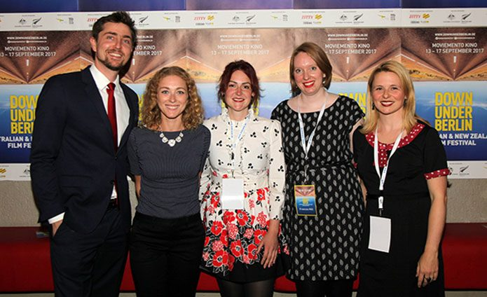 Angus Acton-Cavanough and Julia Kaute from the Australian Embassy, together with 2017 Down Under Berlin board members Sabrina Wittmann, Frances Hill and Charmaine Gorman.