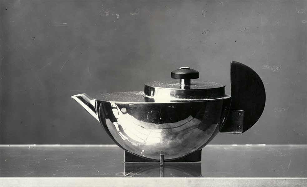 Tea infuser MT 49 by Marianne Brandt, photographed by Bauhaus photographer Lucia Moholy in Dessau in 1924.