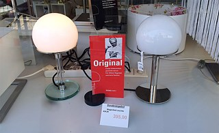 Today a popular and by no means inexpensive home-decoration piece: Wagenfeld lamps for sale.